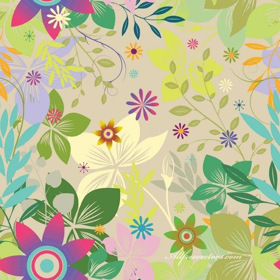 Swirls and Flowers Vector Graphic