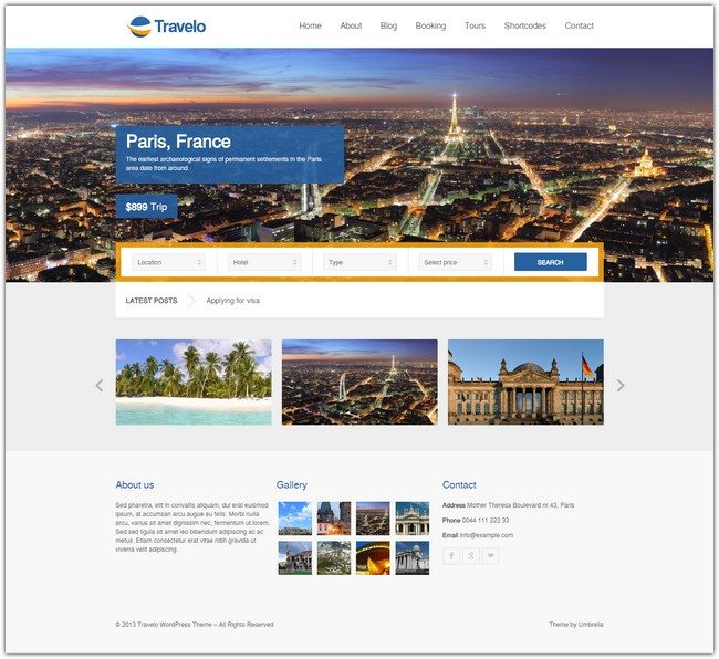 Travelo – Responsive Booking WordPress Theme