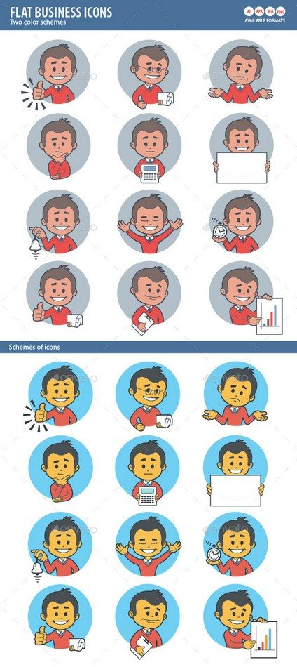 Two Sets of Flat Icon with Characters Businessman