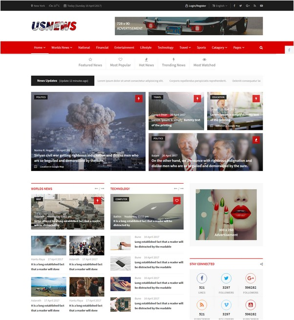 USNews Multipurpose News, Magazine and Blog HTML5 Template
