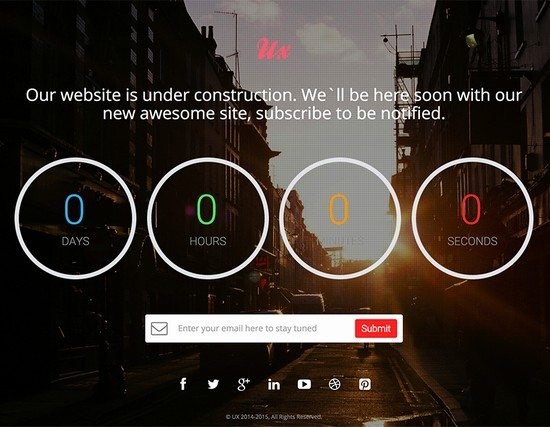 UX - Free Responsive Coming Soon Countdown Template V2