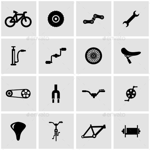 Vector Black Bicycle Icon Set