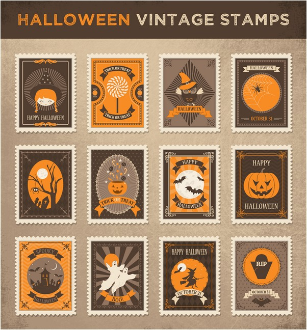 Vector Halloween Vintage Stamps