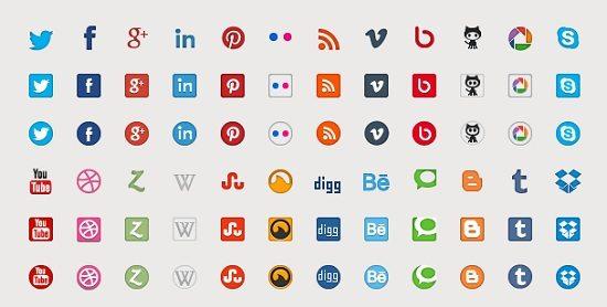 Vector and webfont Social Media icons