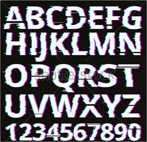 Vector glitch fonts pack