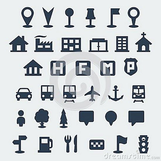 Vector map icons set