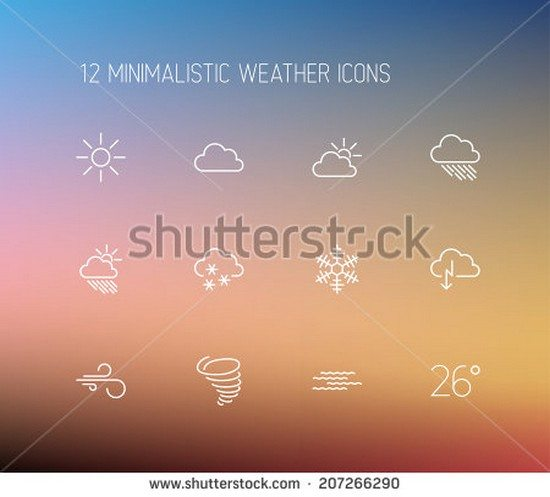 Vector weather thin line icon set