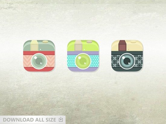 Vintage Flat Camera Icon For Ios