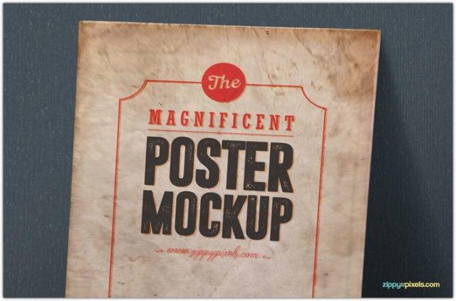 Vintage Poster Mockup Psds