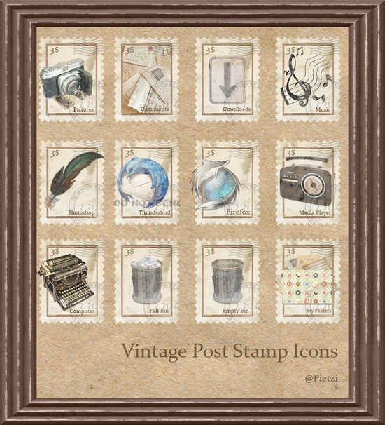 Vintage Stamp Dock Icons