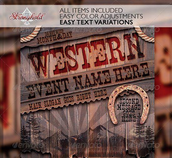 Vintage Western Wood Flyer Template