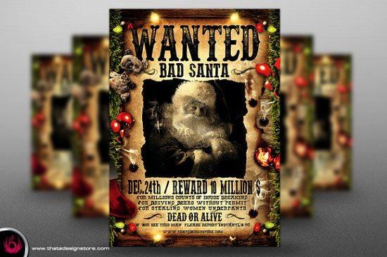 Wanted Bad Santa Flyer Template