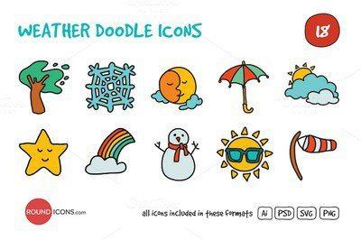 Weather Doodle Icons Set