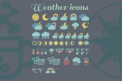 Weather icons illustration clipart