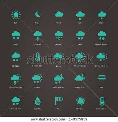 Weather icons. Additional part. Vector illustration