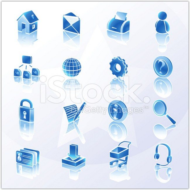 Website and Internet Icons Blue