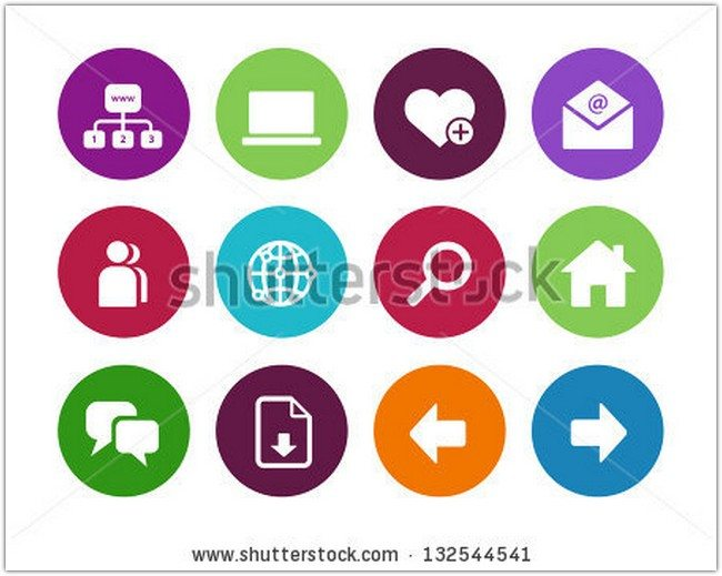 Website circle icons on white background. Vector illustration