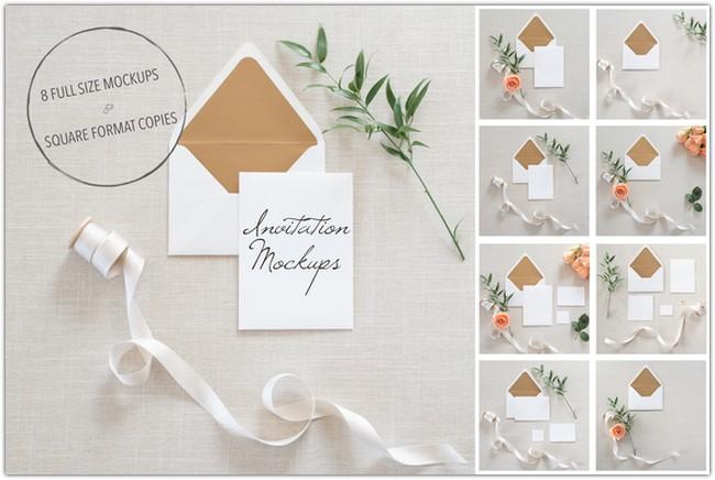 Wedding Invitation Mockups + PSD