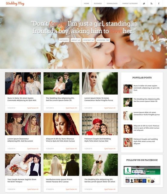 Wedding Magazine blogger template