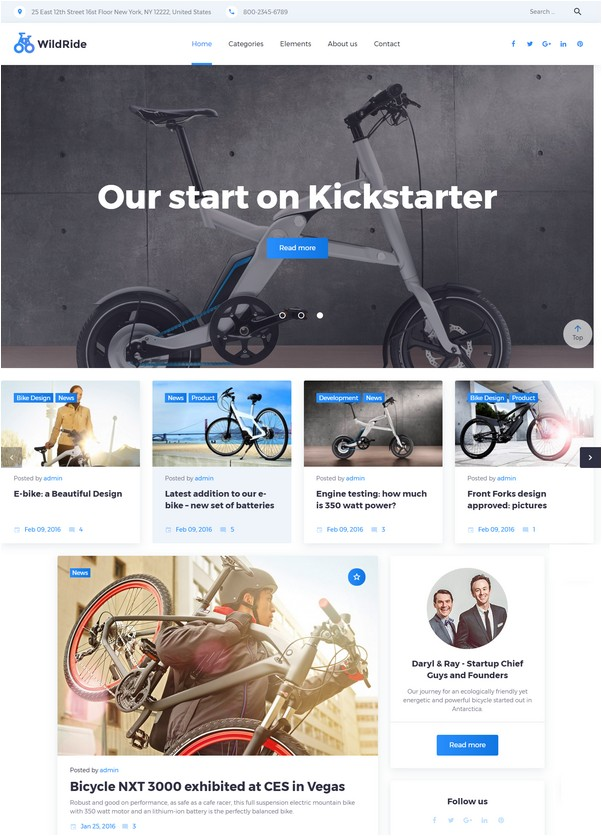 WildRide - Sports Bicycle WordPress Theme
