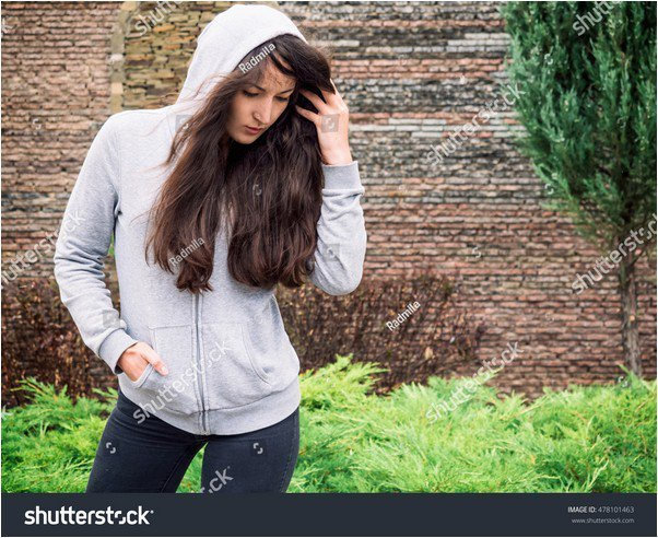 Woman in hoody mockup