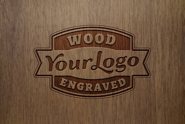 Engraved Wood Mockup