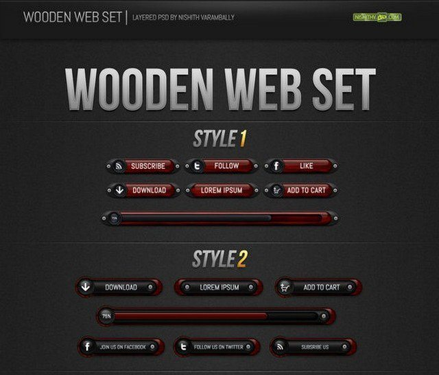 Wooden Web Set PSD