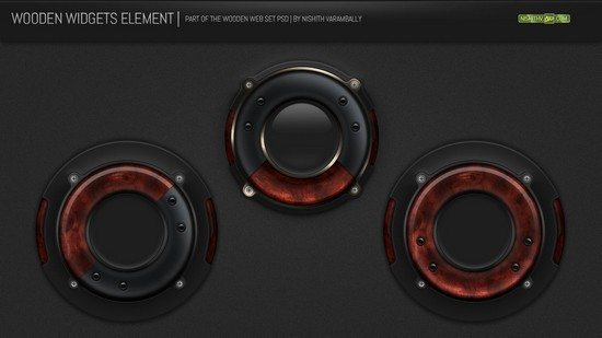 Wooden Widget Element PSD