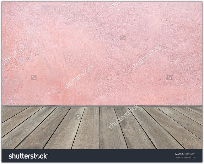 Wooden floor and pastel pink background