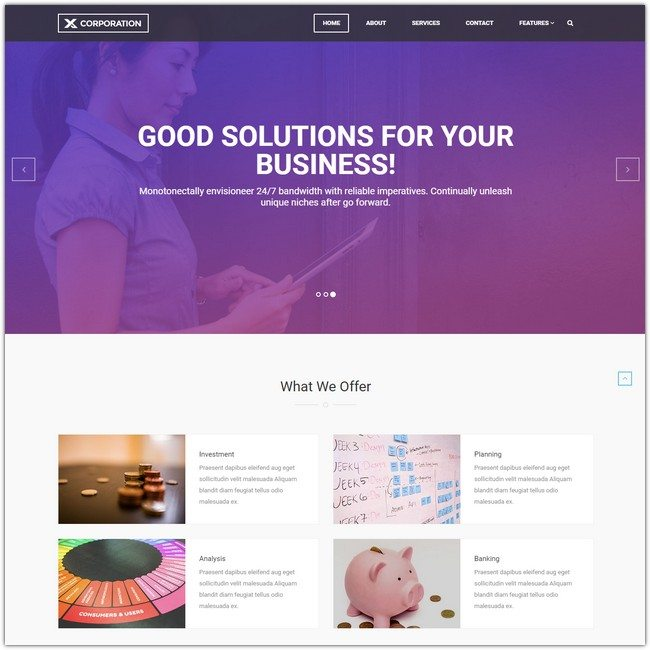 X-Corporation Bootstrap HTML Template