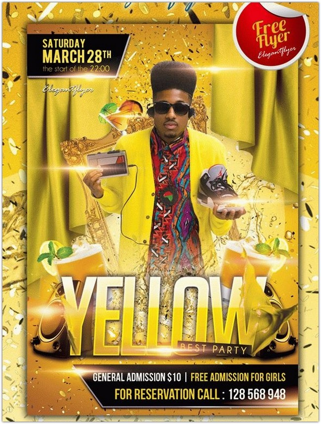 Yellow Party – Club and Party Free Flyer PSD Template