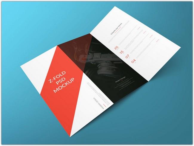 Z Fold Brochure Free PSD Mockup