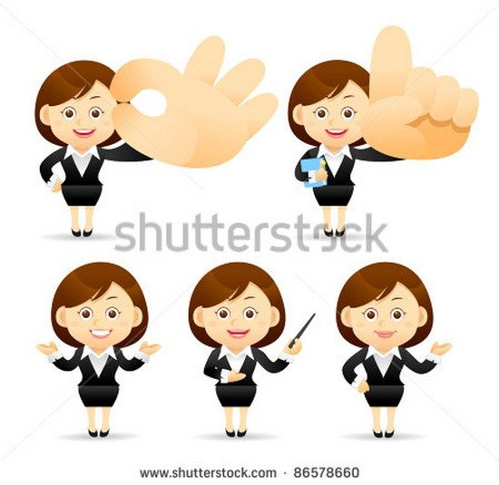 business woman with pointer and hand sign