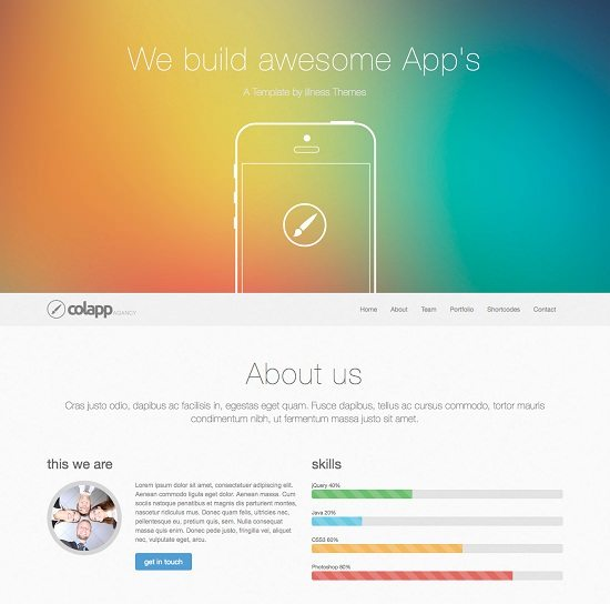 colapp – one page HTML template