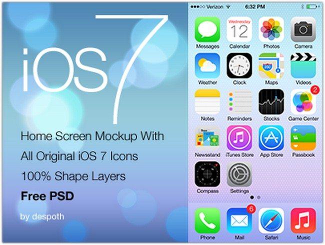 iOS 7 Home Screen With 100% Shape Layers Mockup FREE PSD