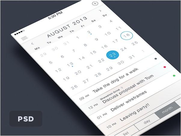 iOS7 Calendar PSD