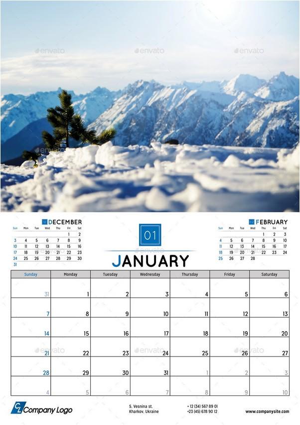 2018 Wall Calendar Planner Template