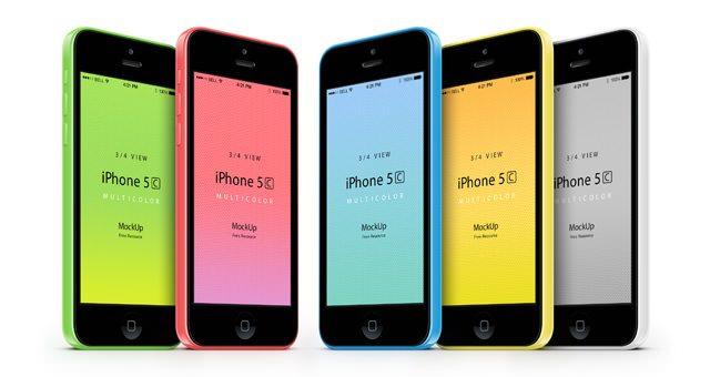 3-4 iPhone 5C Psd Vector Mockup