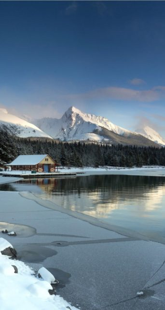 Snow House Landscape Wallpaper Iphone