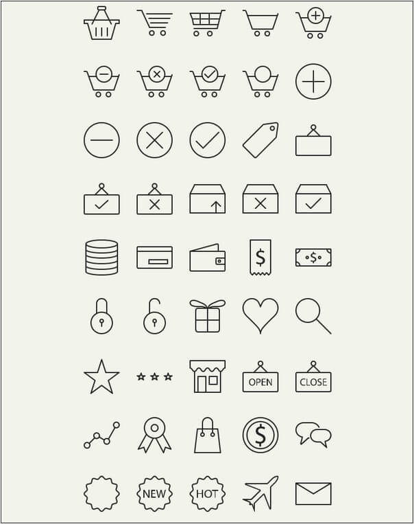 45 Outline E-commerce Icons