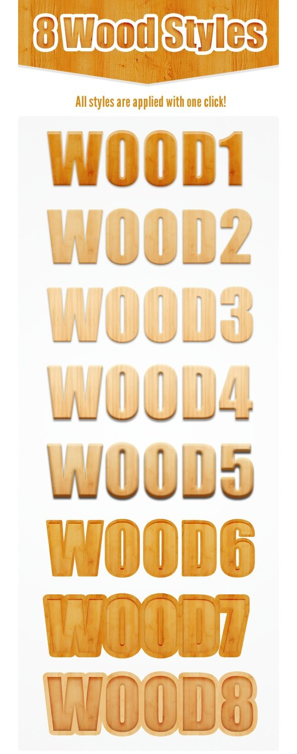 8 Wood Photoshop Layer Styles
