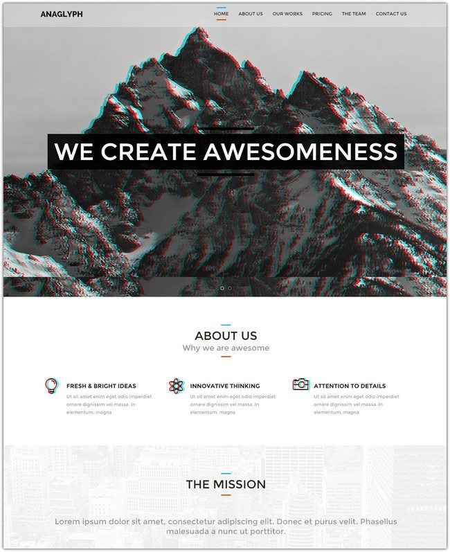 ANAGLYPH - One page Multi Page WordPress Theme