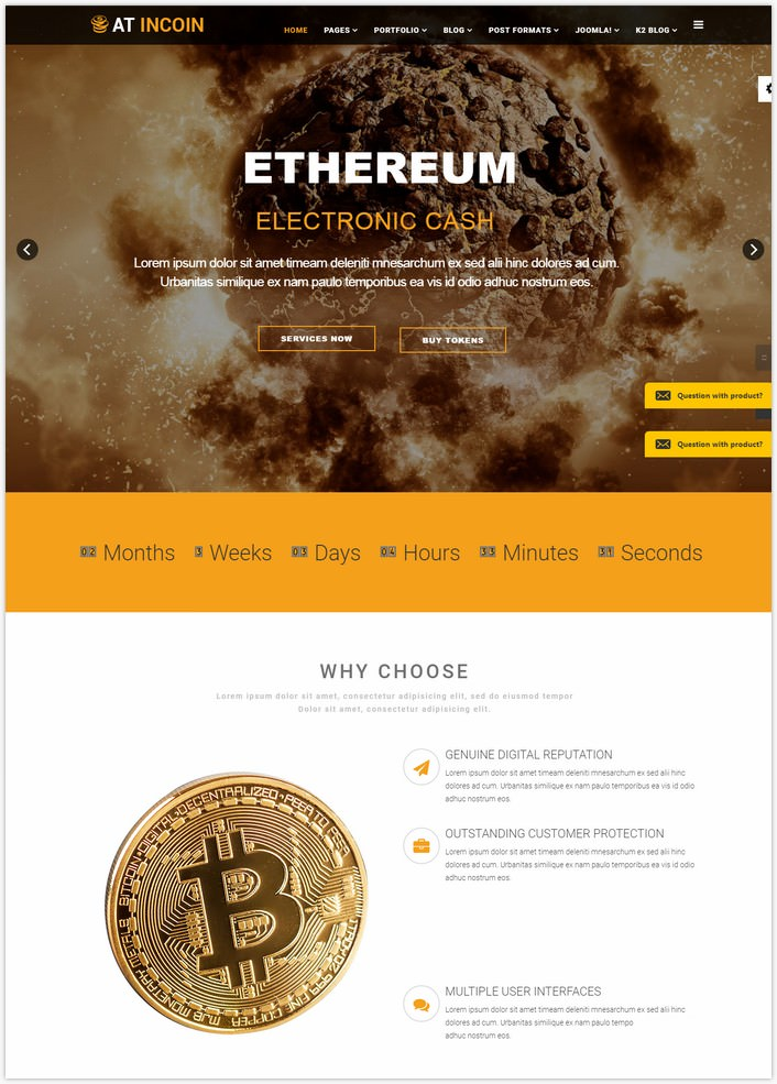 AT InCoin – Free Responsive Cryptocurrency Website Template
