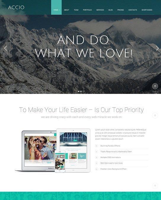 Accio One Page Parallax Responsive WordPress Theme