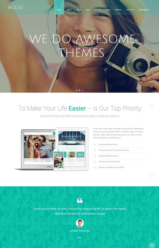 Accio Responsive Parallax One Page Site Template