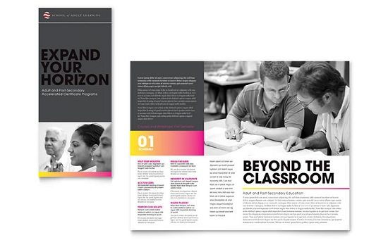 Adult Education & Business School Tri Fold Brochure Template