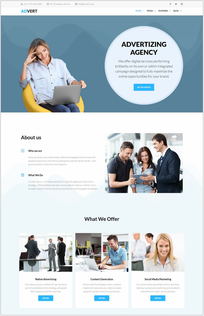 Advert - Advertising Agency WordPress PHP Theme