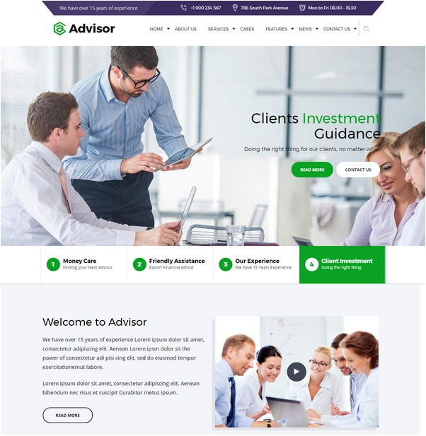 Advisor Consulting, Business, Finance WordPress Them