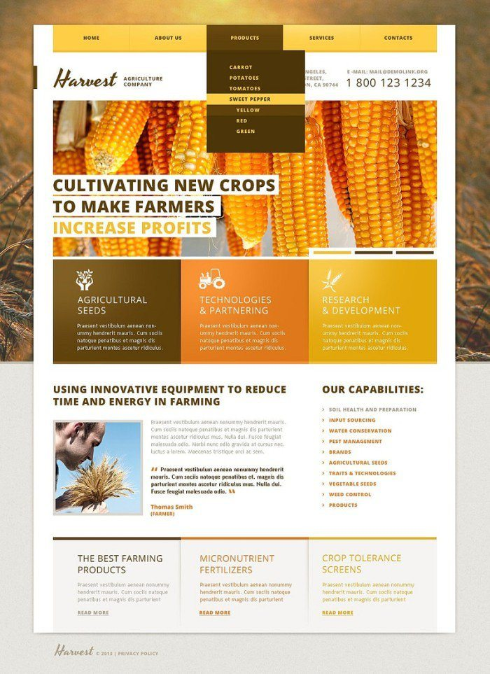 agriculture responsive website template