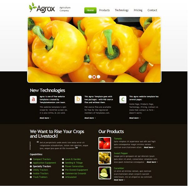 Agrox Template Free website templates